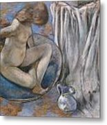 Woman In The Tub Metal Print by Edgar Degas