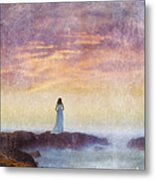 Woman In Vintage Dress At The Rocky Shore At Dawn Metal Print