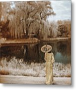 Woman In Vintage Dress With Parason By Lake Metal Print