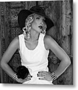 Woman In White  Bw Metal Print