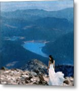 Woman In White Gown On Mountain Top Metal Print