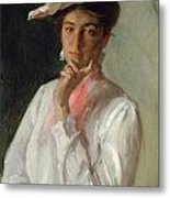 Woman In White Metal Print by William Merritt Chase