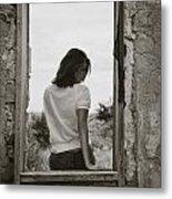 Woman In Window Metal Print