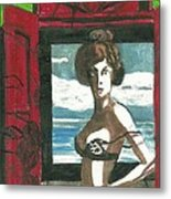 Woman In Window With Red Shutters Metal Print