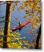 Woman Kayaking With Fall Foliage Metal Print