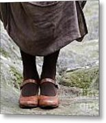 Woman Legs With Shoes Metal Print