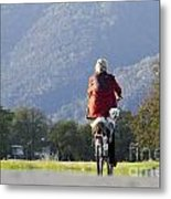 Woman On A Bicycle With Her Dog Metal Print