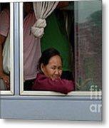 Woman On Bus Laos Metal Print