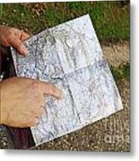 Woman On Country Road Pointing Map Metal Print