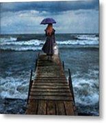 Woman On Dock In Storm Metal Print