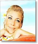 Woman On Spa Massage Bed On The Beach Metal Print