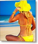 Woman On The Beach Metal Print