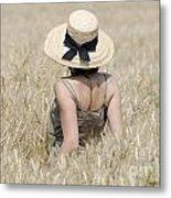 Woman On The Wheat Field Metal Print