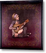 Woman Playing The Lyre Metal Print