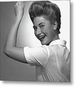 Woman Pointing Up In Studio, (b&w), Portrait Metal Print by George Marks