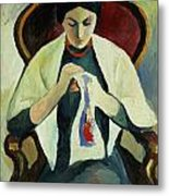 Woman Sewing Metal Print