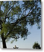 Woman Sitting At Picnic Bench Metal Print