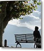 Woman Sitting On A Bench Metal Print