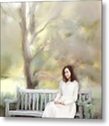 Woman Sitting On Park Bench Metal Print by Stephanie Frey