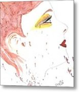 Woman Smile Watercolor Painting Metal Print