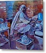 Woman Tea Metal Print