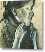 Woman Tying The Ribbons Of Her Hat Metal Print