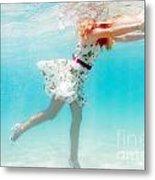 Woman Underwater Metal Print