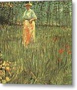 Woman Walking In A Garden Metal Print