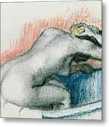 Woman Washing In The Bath Metal Print