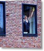 Woman Window Cleaner Metal Print