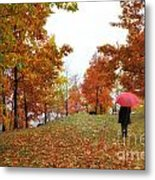 Woman With A Red Umbrella Metal Print