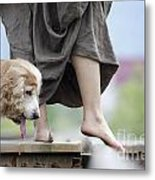 Woman With A Skirt And A Dog Metal Print