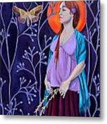 Woman With Child And Wildflowers Metal Print
