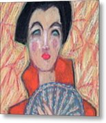 Woman With Fan Metal Print
