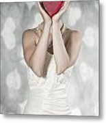 Woman With Heart Metal Print