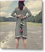 Woman With Red Rose Metal Print
