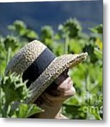 Woman With Straw Hat Metal Print