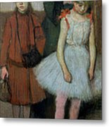Woman With Two Little Girls Metal Print