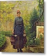 Woman With Watering Cans Metal Print