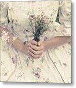 Woman With Wild Flowers Metal Print by Joana Kruse