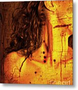 Woman With Words And Numbers Metal Print
