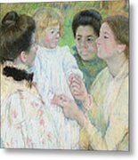 Women Admiring A Child Metal Print by Mary Stevenson Cassatt
