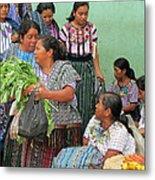 Women At The Chichicastenango Market Metal Print