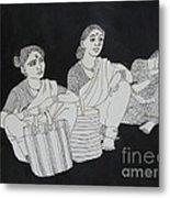 Women Waiting For The Bus Metal Print