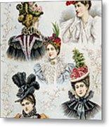 Womens Hat Designs For April, 1897 Metal Print
