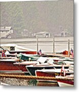 Wood Boats In The Rain Metal Print