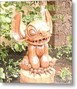 Wood Carving Of Stitch Metal Print
