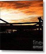 Wood Fence Sunrise Metal Print