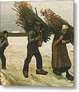Wood Gatherers In The Snow Metal Print