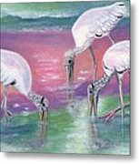Wood Stork Family At Sunset Metal Print